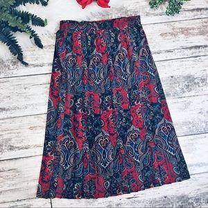 Vintage Paisley Pleated Midi Skirt